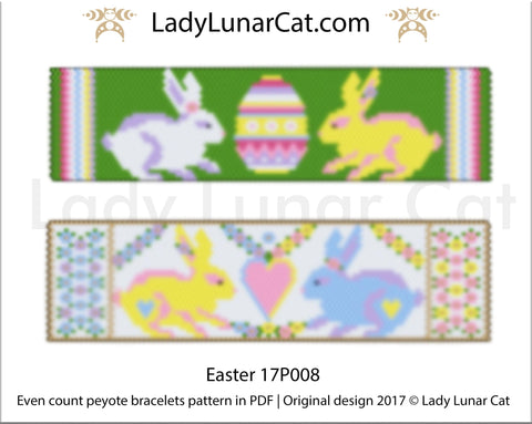 Even count Easter peyote bracelet beading pattern 17P008 LadyLunarCat