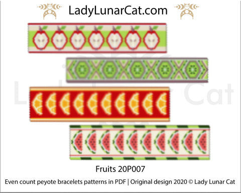 Even count peyote Fruits bracelet beading pattern LadyLunarCat