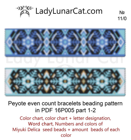 Even count peyote Winter bracelet beading pattern 16P005 LadyLunarCat