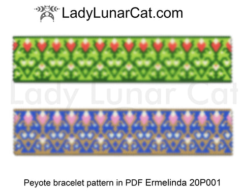 Even count peyote bracelet beading pattern Chartreuse and Blue floral LadyLunarCat