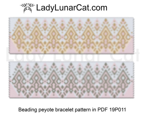 Even count peyote bracelet beading pattern Gold and silver LadyLunarCat
