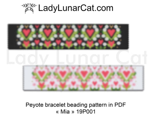 Even count peyote bracelet beading pattern Mia  19P002 LadyLunarCat