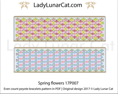 Even count peyote bracelet beading pattern Spring flowers LadyLunarCat