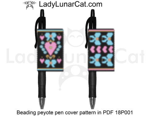 Pen cover peyote beading pattern Bows and Hearts Valentines Day 18P001 LadyLunarCat