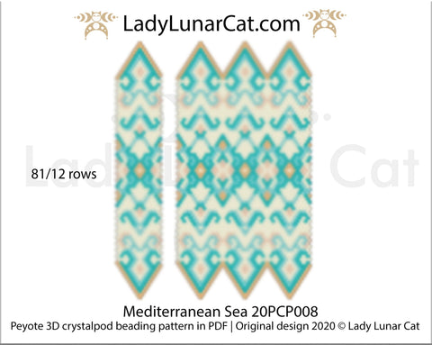 Peyote 3D crystalpod pattern for beading Mediterranean Sea 20PCP008 LadyLunarCat