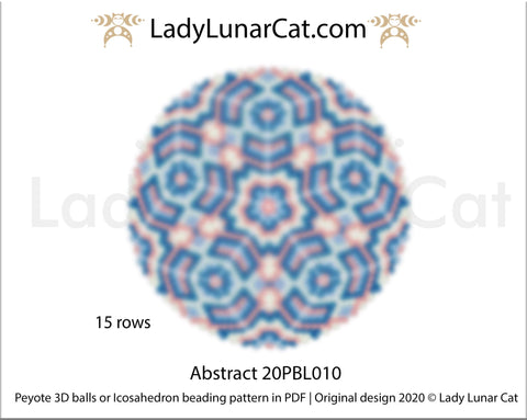 Peyote 3d ball pattern for beading | Beaded Icosahedron Abstract 20PBL010 15 rows LadyLunarCat