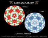 Peyote 3d ball pattern for beading | Beaded Icosahedron Christmas 20PBL008 17 rows LadyLunarCat
