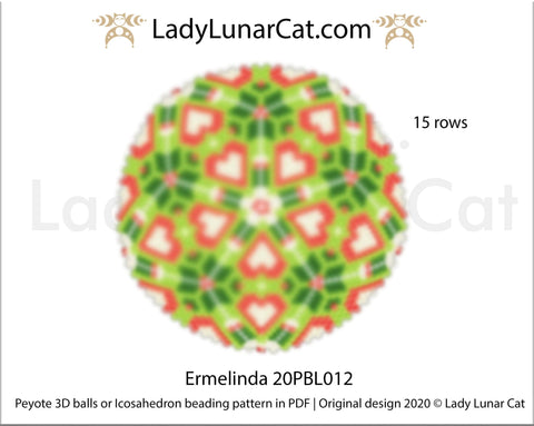 Peyote 3d ball pattern for beading | Beaded Icosahedron Ermelinda 20PBL012 15 rows LadyLunarCat