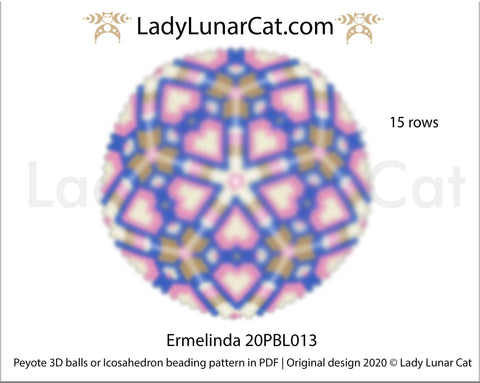 Peyote 3d ball pattern for beading | Beaded Icosahedron Ermelinda 20PBL013 15 rows LadyLunarCat