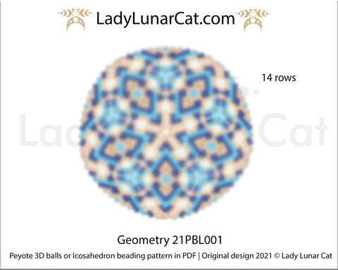 Peyote 3d ball pattern for beading | Beaded Icosahedron Geometry 21PBL001 14 rows LadyLunarCat