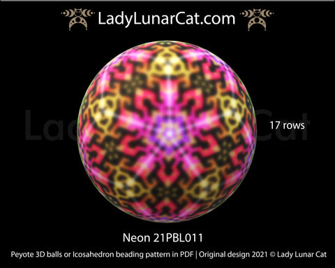 Peyote 3d ball pattern for beading | Beaded Icosahedron Neon 21PBL011 17 rows LadyLunarCat