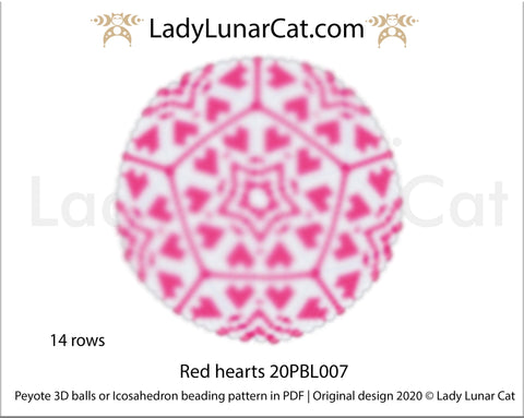 Peyote 3d ball pattern for beading | Beaded Icosahedron Red hearts 20PBL007 14 rows LadyLunarCat