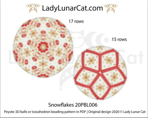 Peyote 3d ball pattern for beading | Beaded Icosahedron Snowflakes 20PBL006 17 rows and 15 rows LadyLunarCat