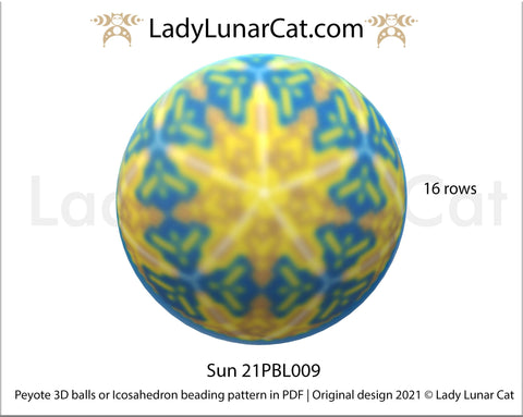 Peyote 3d ball pattern for beading | Beaded Icosahedron Sun 21PBL009 16 rows LadyLunarCat