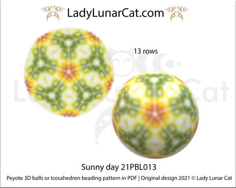 Peyote 3d ball pattern for beading | Beaded Icosahedron Sunny day 21PBL013 13 rows LadyLunarCat