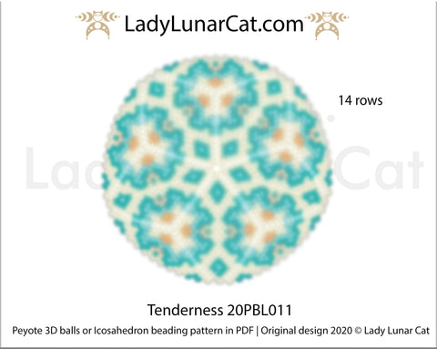 Peyote 3d ball pattern for beading | Beaded Icosahedron Tenderness 20PBL011 14 rows LadyLunarCat