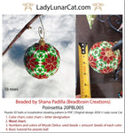 Peyote 3d ball pattern for beadweaving | Beaded Icosahedron Poinsettia 20PBL005 16 rows LadyLunarCat