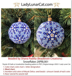 Peyote 3d ball pattern for beadweaving | Beaded Icosahedron Snowflakes 20PBL001 17 rows LadyLunarCat