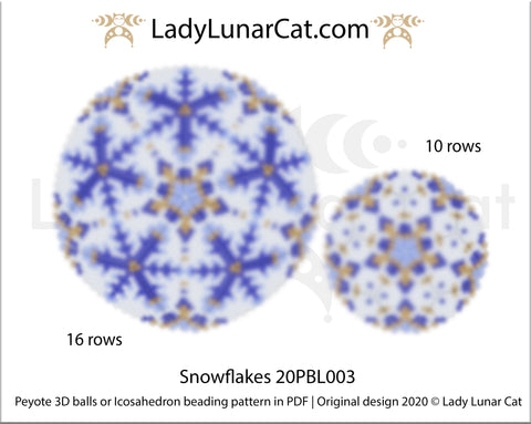 Peyote 3d ball pattern for beadweaving | Beaded Icosahedron Snowflakes 20PBL003 16 rows and 10 rows LadyLunarCat