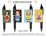 Peyote Dolls Pen cover beading pattern Girls LadyLunarCat
