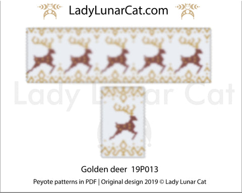 Peyote bracelet pattern for beading - Golden deer 19P013 | Winter pen cover pattern LadyLunarCat