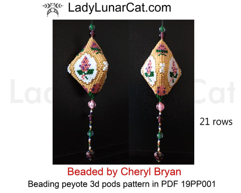 Peyote pod patterns for beading Vintage Lilac flowers 19PP001 LadyLunarCat