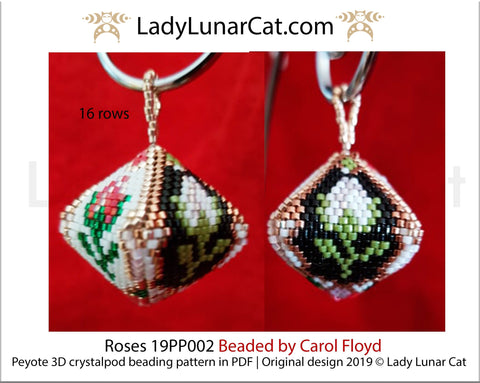 Peyote pod patterns for beading Vintage roses flowers 19PS002 LadyLunarCat
