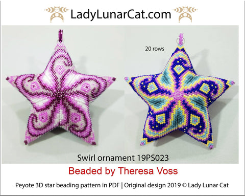 Peyote star patterns for beading  Swirl ornament 19PS023 LadyLunarCat