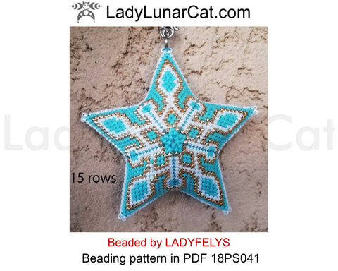 Peyote star patterns for beading Christmas ornament 18PS041 LadyLunarCat