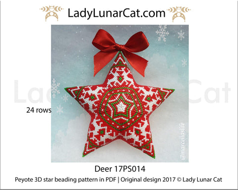 Peyote star patterns for beading Christmas ornaments with Northern deer 17PS014 LadyLunarCat