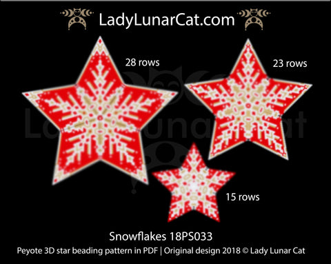 Peyote star patterns for beading Christmas red snowflake 18PS033 LadyLunarCat