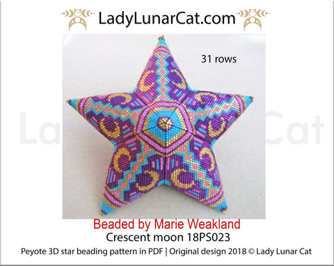 Peyote star patterns for beading Crescent moon 18PS023 LadyLunarCat