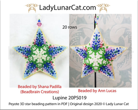 Peyote star patterns for beading Lupine flowers 20PS0019 LadyLunarCat