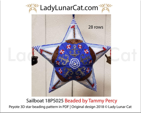 Peyote star patterns for beading Sailboat star 18PS025 LadyLunarCat