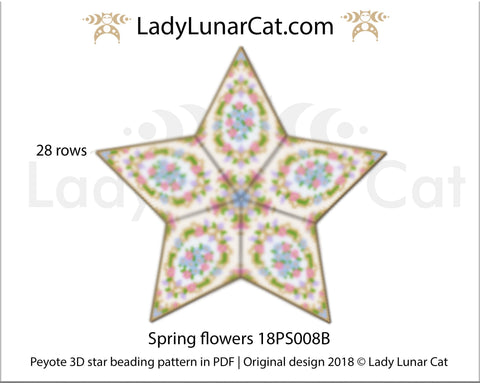 Peyote star patterns for beading Spring flowers 18PS008B LadyLunarCat
