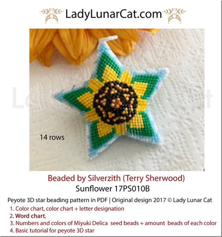 Peyote star patterns for beading Sunflower 17PS010B LadyLunarCat