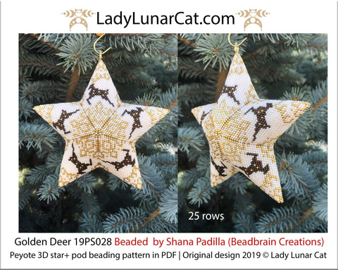 Peyote star patterns for beading and peyote pod patterns Golden deer 19PS028 LadyLunarCat