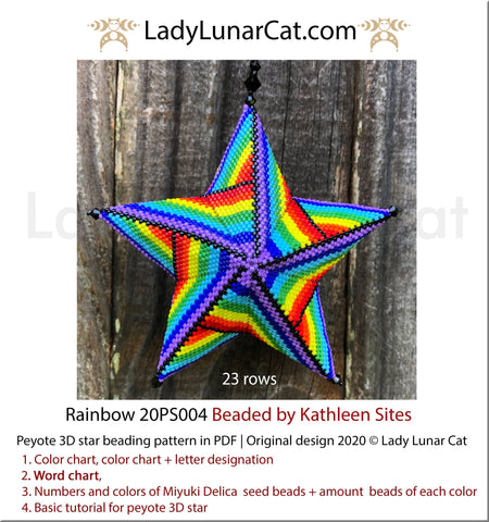 Peyote star patterns for beading colorful Rainbow 20PS004 LadyLunarCat