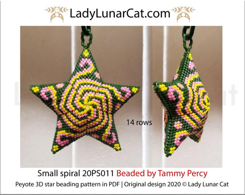 Peyote star patterns for beading yellow Small spiral 20PS011 LadyLunarCat