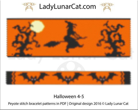 Peyote stitch bracelet pattern | Even count peyote Halloween 4-5 LadyLunarCat