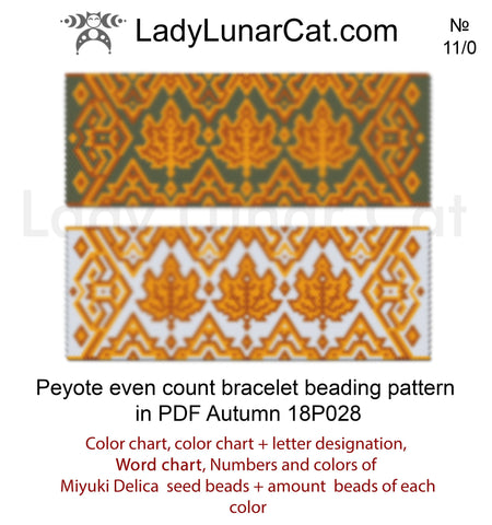 Peyote stitch bracelet pattern Autumn 18P028 LadyLunarCat