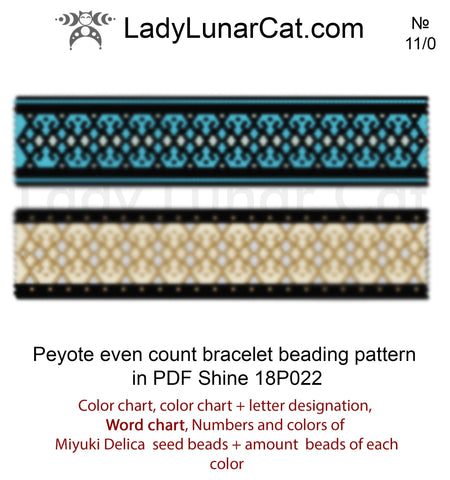 Peyote stitch bracelet pattern Shine LadyLunarCat