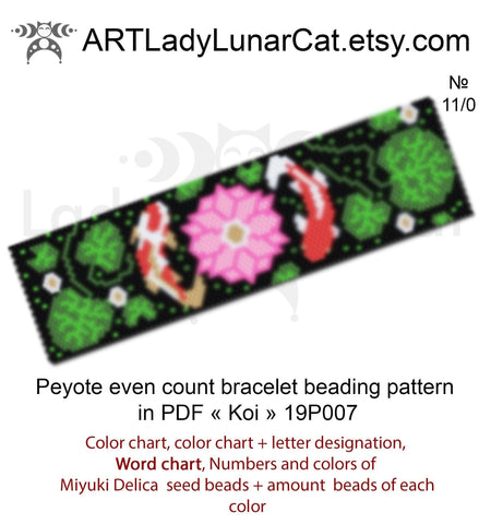 Peyote stitch bracelet pattern even count  Koi fish LadyLunarCat