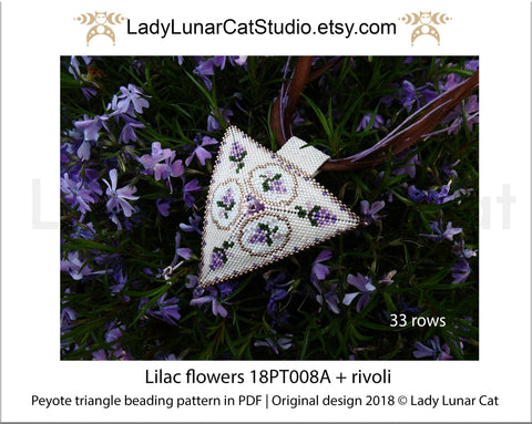 Peyote triangle pattern Lilac flower  18PT008A LadyLunarCat