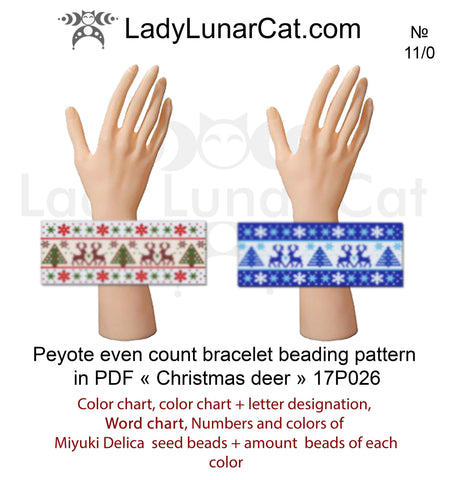 Winter deer peyote bracelet beading pattern 17P026 LadyLunarCat