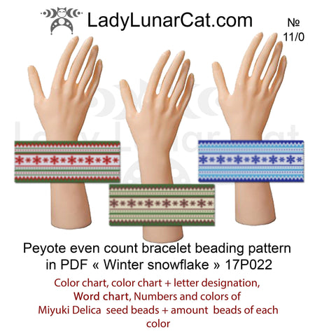 Winter peyote bracelet beading pattern 17P022 LadyLunarCat