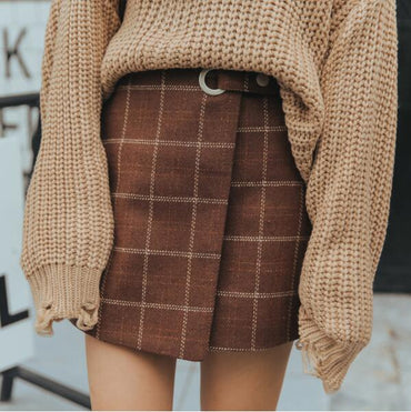 Thickened Woolen Plaid Retro Skirt