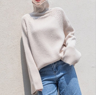 Vintage Casual Turtleneck Pullovers Sweaters
