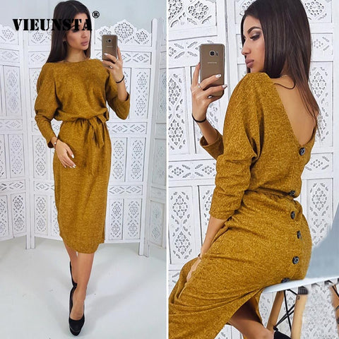 Vintage Sashes Back V neck Button Dress