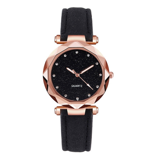 Romantic Starry Sky Leather Band Rhinestone Wacht